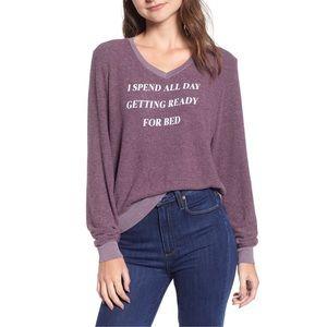 Wildfox Slogan Baggy Beach Jumper Purple